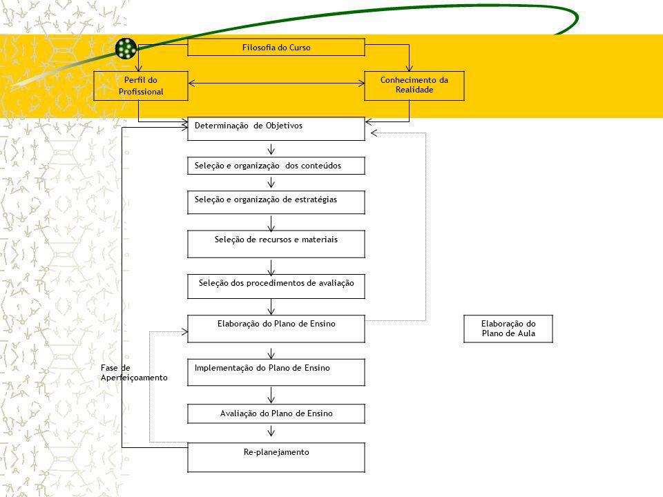 Filosofia do Curso Perfil do Profissional Conhecimento da Realidade Determinação de Objetivos Seleção e organização dos conteúdos Seleção e organizaçã