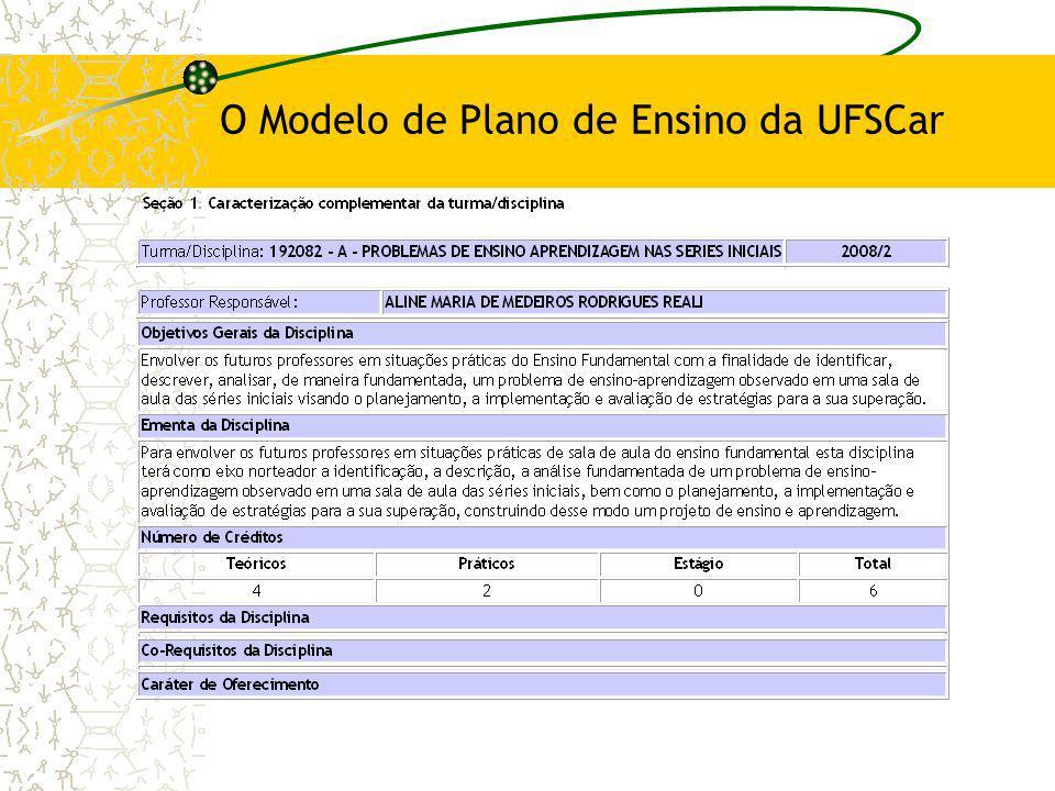 O Modelo de Plano de Ensino da UFSCar