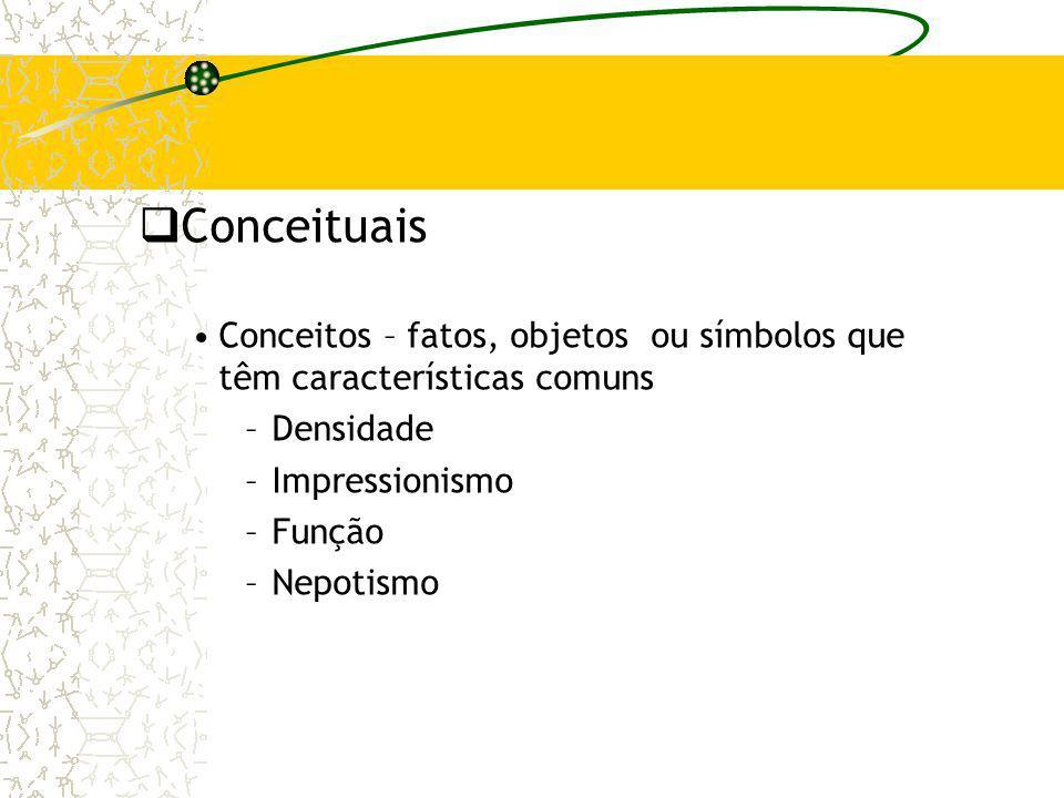 Conceituais Conceitos – fatos, objetos ou símbolos que têm características comuns –Densidade –Impressionismo –Função –Nepotismo
