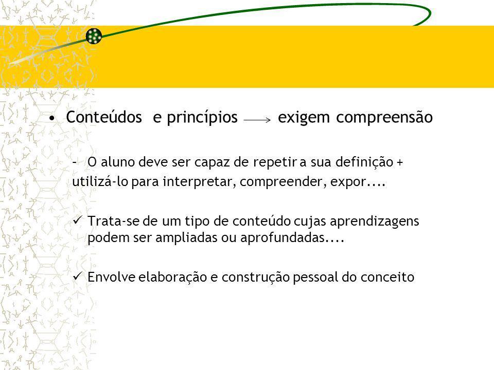 Conteúdos e princípios exigem compreensão –O aluno deve ser capaz de repetir a sua definição + utilizá-lo para interpretar, compreender, expor.... Tra