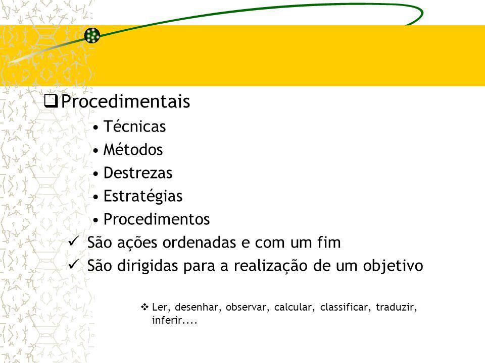 Procedimentais Técnicas Métodos Destrezas Estratégias Procedimentos São ações ordenadas e com um fim São dirigidas para a realização de um objetivo Le