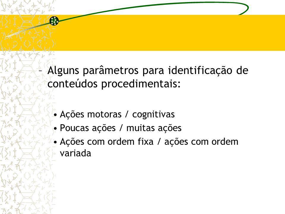 –Alguns parâmetros para identificação de conteúdos procedimentais: Ações motoras / cognitivas Poucas ações / muitas ações Ações com ordem fixa / ações