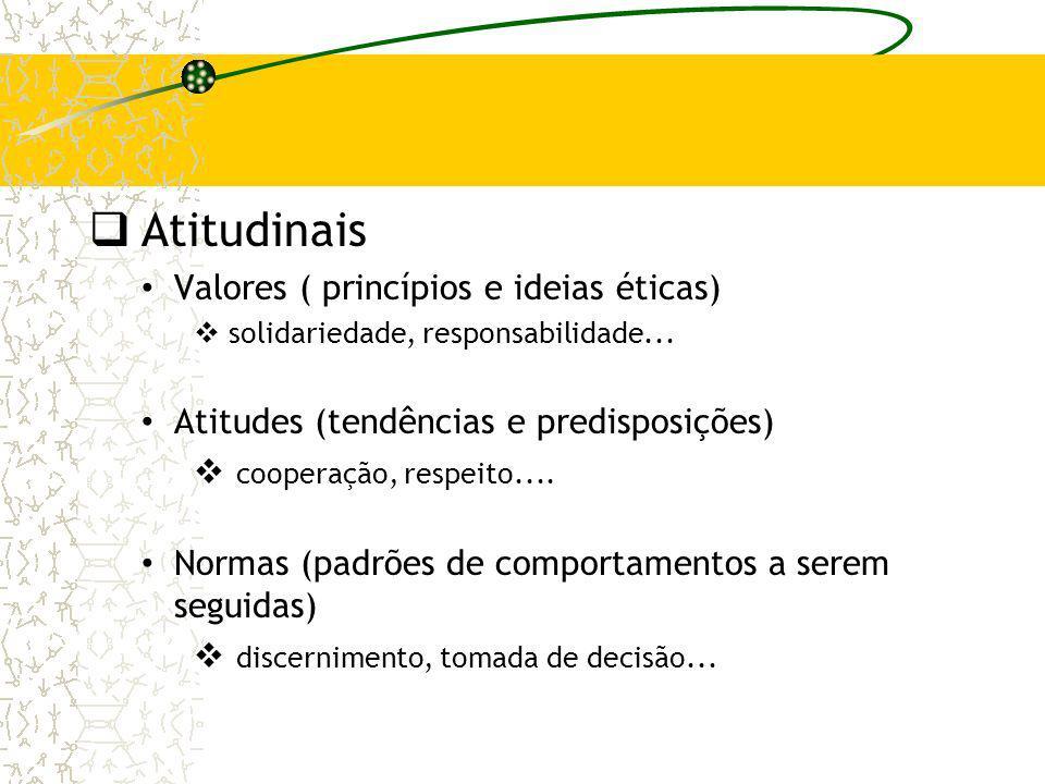 Atitudinais Valores ( princípios e ideias éticas) solidariedade, responsabilidade... Atitudes (tendências e predisposições) cooperação, respeito.... N