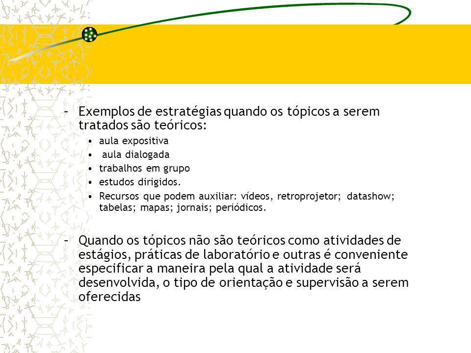 –Exemplos de estratégias quando os tópicos a serem tratados são teóricos: aula expositiva aula dialogada trabalhos em grupo estudos dirigidos. Recurso