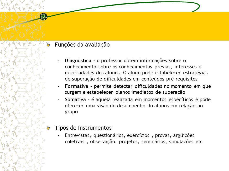Funções da avaliação –Diagnóstica – o professor obtém informações sobre o conhecimento sobre os conhecimentos prévias, interesses e necessidades dos a
