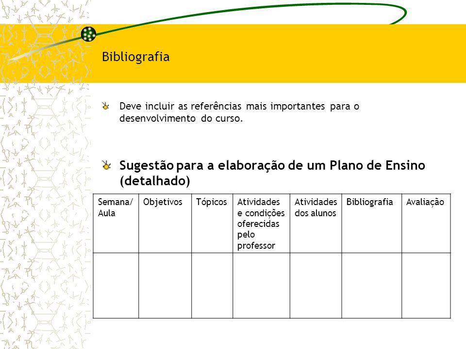 Bibliografia Deve incluir as referências mais importantes para o desenvolvimento do curso. Sugestão para a elaboração de um Plano de Ensino (detalhado