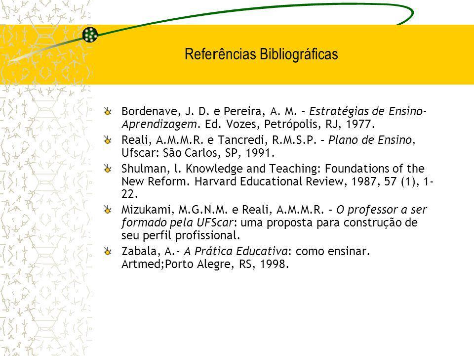 Refe r ências Bibliográficas Bordenave, J. D. e Pereira, A. M. – Estratégias de Ensino- Aprendizagem. Ed. Vozes, Petrópolis, RJ, 1977. Reali, A.M.M.R.