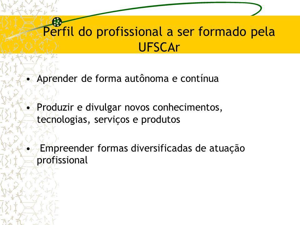 Perfil do profissional a ser formado pela UFSCAr Aprender de forma autônoma e contínua Produzir e divulgar novos conhecimentos, tecnologias, serviços