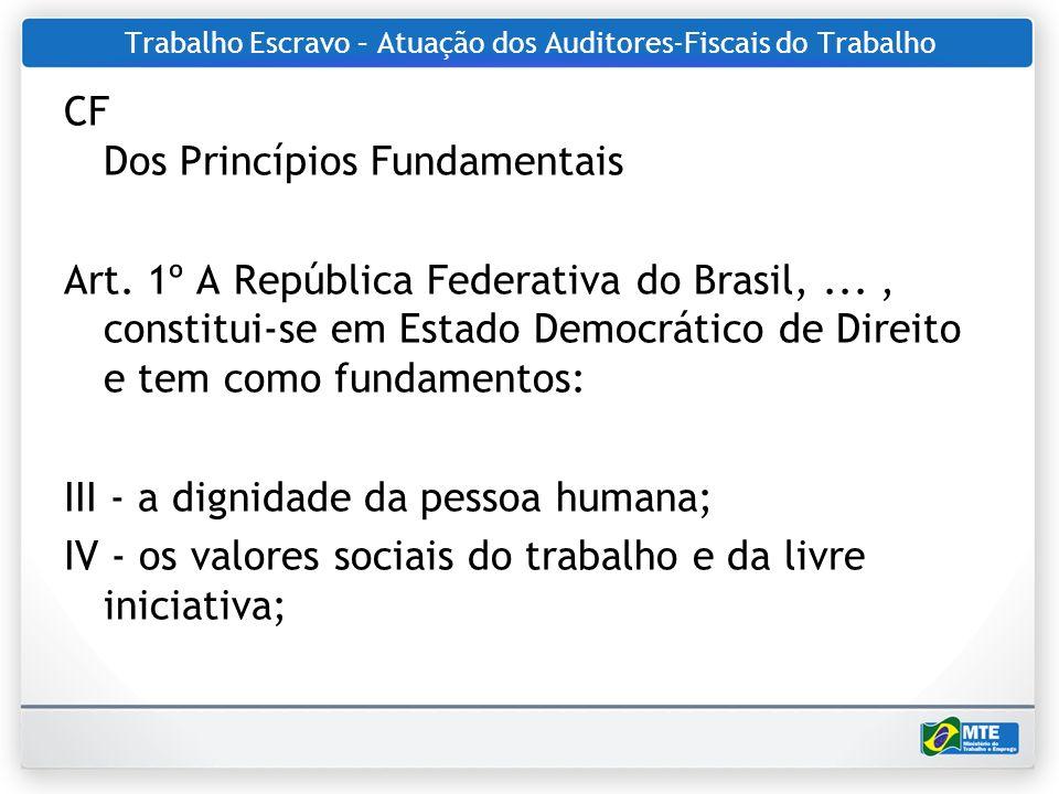 Trabalho Escravo – Atuação dos Auditores-Fiscais do Trabalho CF Dos Princípios Fundamentais Art. 1º A República Federativa do Brasil,..., constitui-se