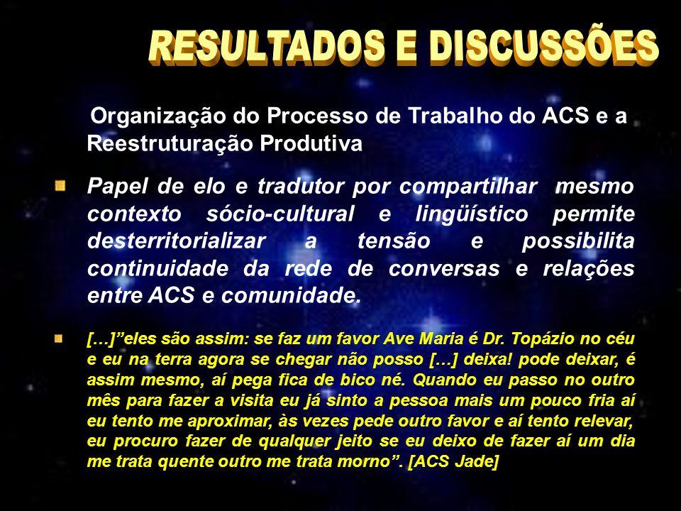 Organização do Processo de Trabalho do ACS e a Reestruturação Produtiva Papel de elo e tradutor por compartilhar mesmo contexto sócio-cultural e lingüístico permite desterritorializar a tensão e possibilita continuidade da rede de conversas e relações entre ACS e comunidade.