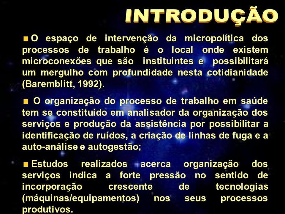 O espaço de intervenção da micropolítica dos processos de trabalho é o local onde existem microconexões que são instituintes e possibilitará um mergulho com profundidade nesta cotidianidade (Baremblitt, 1992).