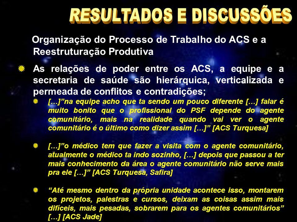 Organização do Processo de Trabalho do ACS e a Reestruturação Produtiva As relações de poder entre os ACS, a equipe e a secretaria de saúde são hierárquica, verticalizada e permeada de conflitos e contradições; […]na equipe acho que ta sendo um pouco diferente […] falar é muito bonito que o profissional do PSF depende do agente comunitário, mais na realidade quando vai ver o agente comunitário é o último como dizer assim […] [ACS Turquesa] […]o médico tem que fazer a visita com o agente comunitário, atualmente o médico ta indo sozinho, […] depois que passou a ter mais conhecimento da área o agente comunitário não serve mais pra ele […] [ACS Turquesa, Safira] Até mesmo dentro da própria unidade acontece isso, montarem os projetos, palestras e cursos, deixam as coisas assim mais difíceis, mais pesadas, sobrarem para os agentes comunitários […] [ACS Jade]