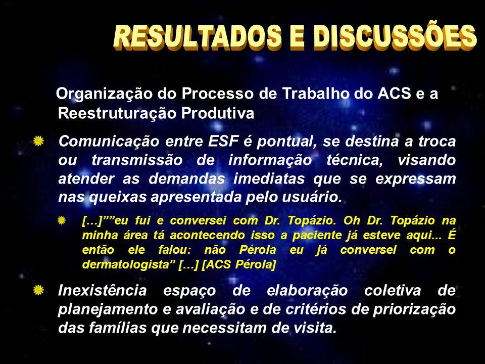 Organização do Processo de Trabalho do ACS e a Reestruturação Produtiva Comunicação entre ESF é pontual, se destina a troca ou transmissão de informação técnica, visando atender as demandas imediatas que se expressam nas queixas apresentada pelo usuário.