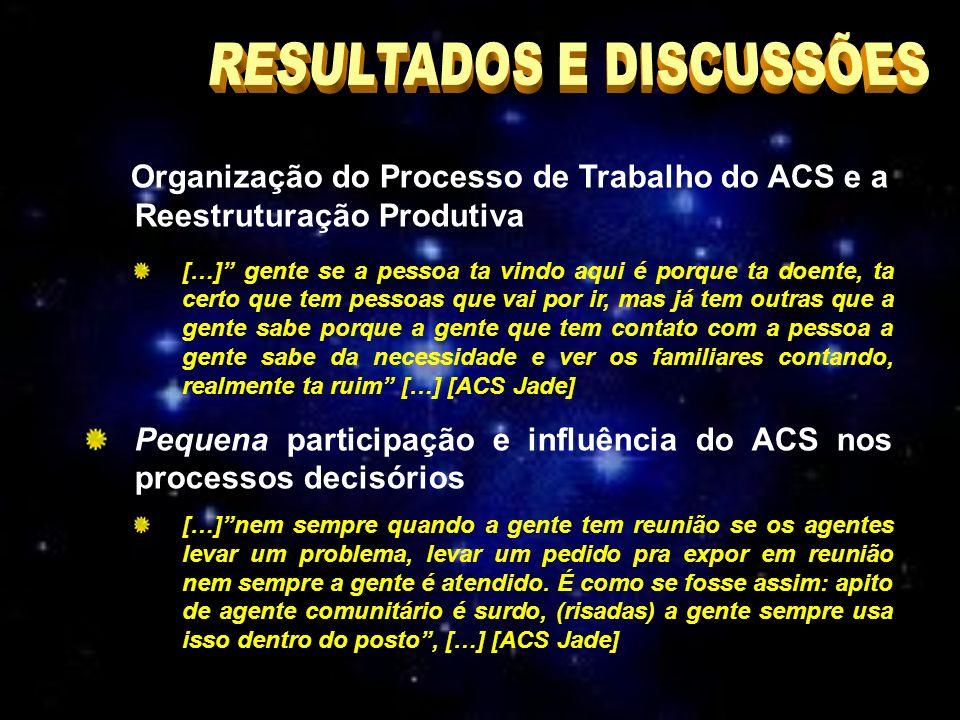Organização do Processo de Trabalho do ACS e a Reestruturação Produtiva […] gente se a pessoa ta vindo aqui é porque ta doente, ta certo que tem pessoas que vai por ir, mas já tem outras que a gente sabe porque a gente que tem contato com a pessoa a gente sabe da necessidade e ver os familiares contando, realmente ta ruim […] [ACS Jade] Pequena participação e influência do ACS nos processos decisórios […]nem sempre quando a gente tem reunião se os agentes levar um problema, levar um pedido pra expor em reunião nem sempre a gente é atendido.