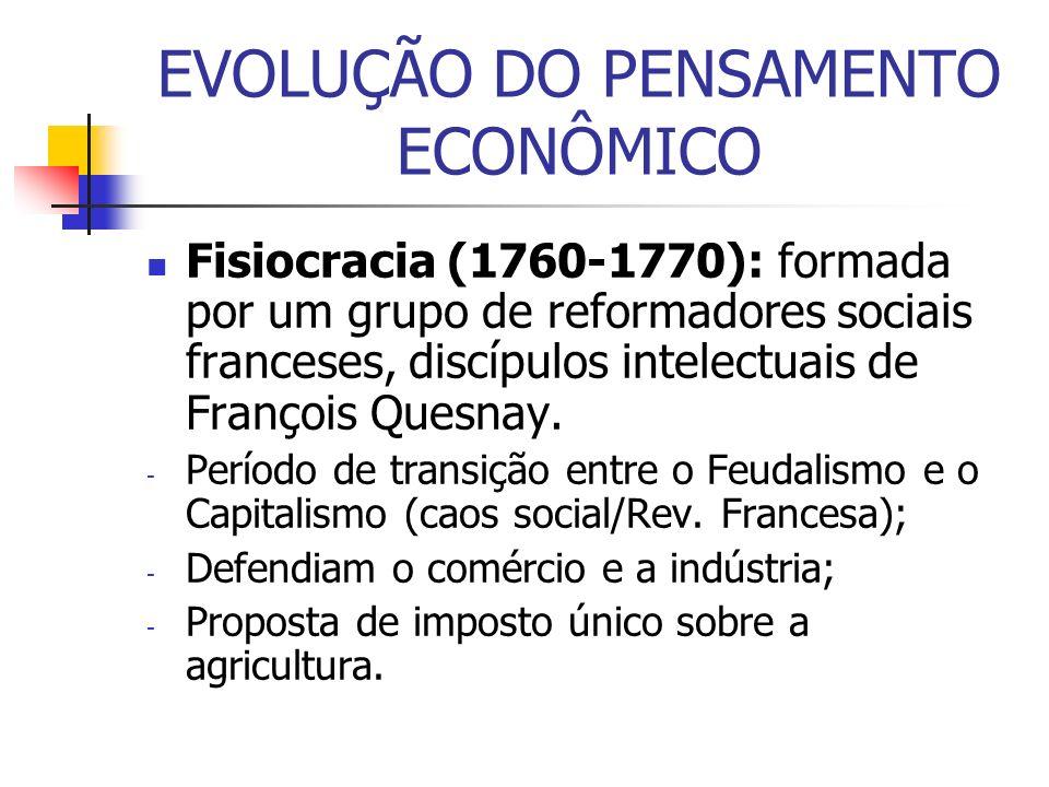 EVOLUÇÃO DO PENSAMENTO ECONÔMICO Fisiocracia (1760-1770): formada por um grupo de reformadores sociais franceses, discípulos intelectuais de François