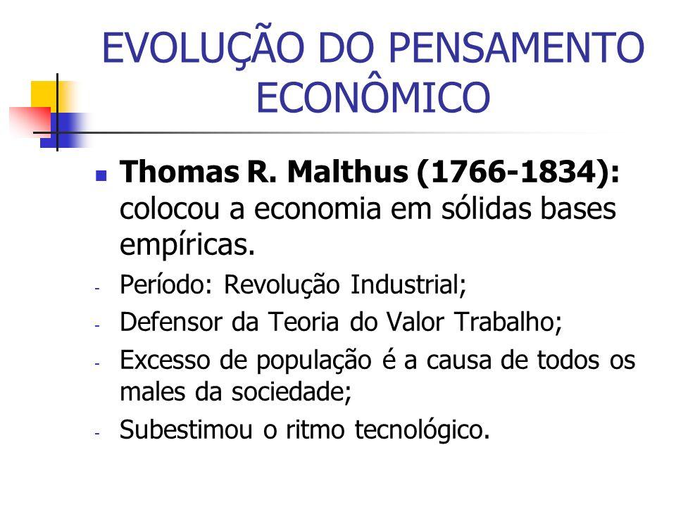 EVOLUÇÃO DO PENSAMENTO ECONÔMICO Thomas R. Malthus (1766-1834): colocou a economia em sólidas bases empíricas. - Período: Revolução Industrial; - Defe