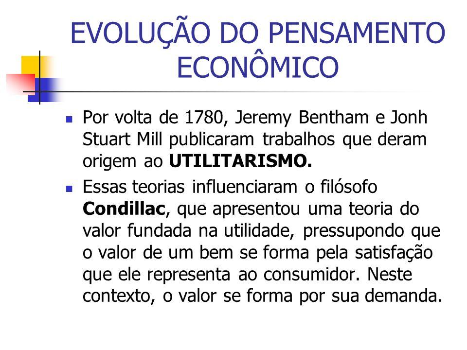 EVOLUÇÃO DO PENSAMENTO ECONÔMICO Por volta de 1780, Jeremy Bentham e Jonh Stuart Mill publicaram trabalhos que deram origem ao UTILITARISMO. Essas teo
