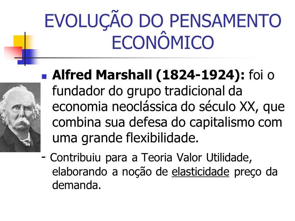 Alfred Marshall (1824-1924): foi o fundador do grupo tradicional da economia neoclássica do século XX, que combina sua defesa do capitalismo com uma g