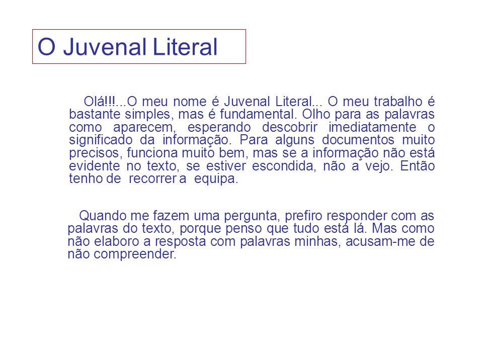 Olá!!!...O meu nome é Juvenal Literal... O meu trabalho é bastante simples, mas é fundamental. Olho para as palavras como aparecem, esperando descobri