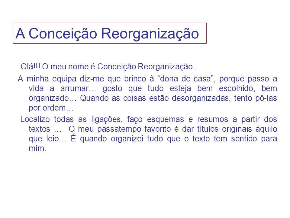 Olá!!! O meu nome é Conceição Reorganização… A minha equipa diz-me que brinco à dona de casa, porque passo a vida a arrumar… gosto que tudo esteja bem