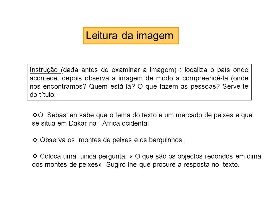Leitura da imagem Instrução (dada antes de examinar a imagem) : localiza o país onde acontece, depois observa a imagem de modo a compreendê-la (onde n