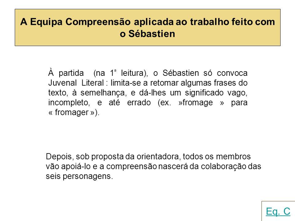 A Equipa Compreensão aplicada ao trabalho feito com o Sébastien À partida (na 1 ª leitura), o Sébastien só convoca Juvenal Literal : limita-se a retom