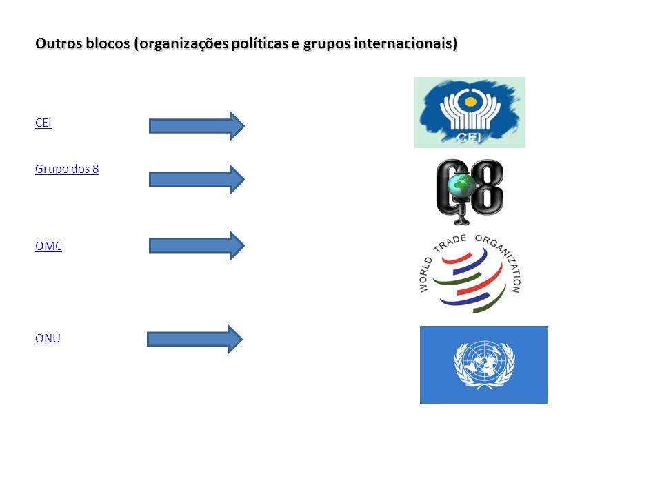 Outros blocos (organizações políticas e grupos internacionais) CEI Grupo dos 8 OMC ONU
