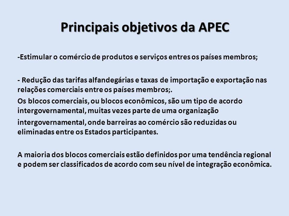 Principais objetivos da APEC -Estimular o comércio de produtos e serviços entres os países membros; - Redução das tarifas alfandegárias e taxas de imp
