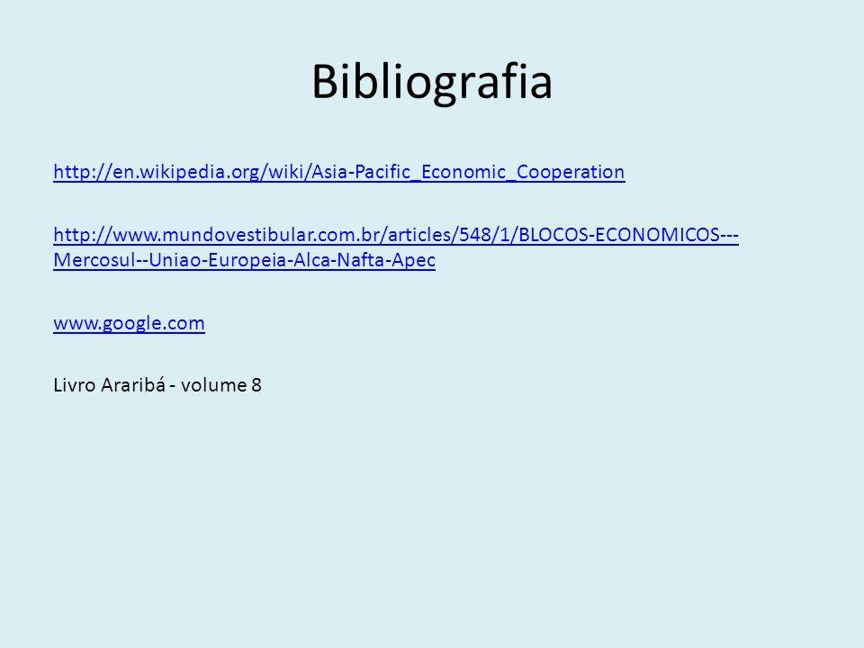 Bibliografia http://en.wikipedia.org/wiki/Asia-Pacific_Economic_Cooperation http://www.mundovestibular.com.br/articles/548/1/BLOCOS-ECONOMICOS--- Merc
