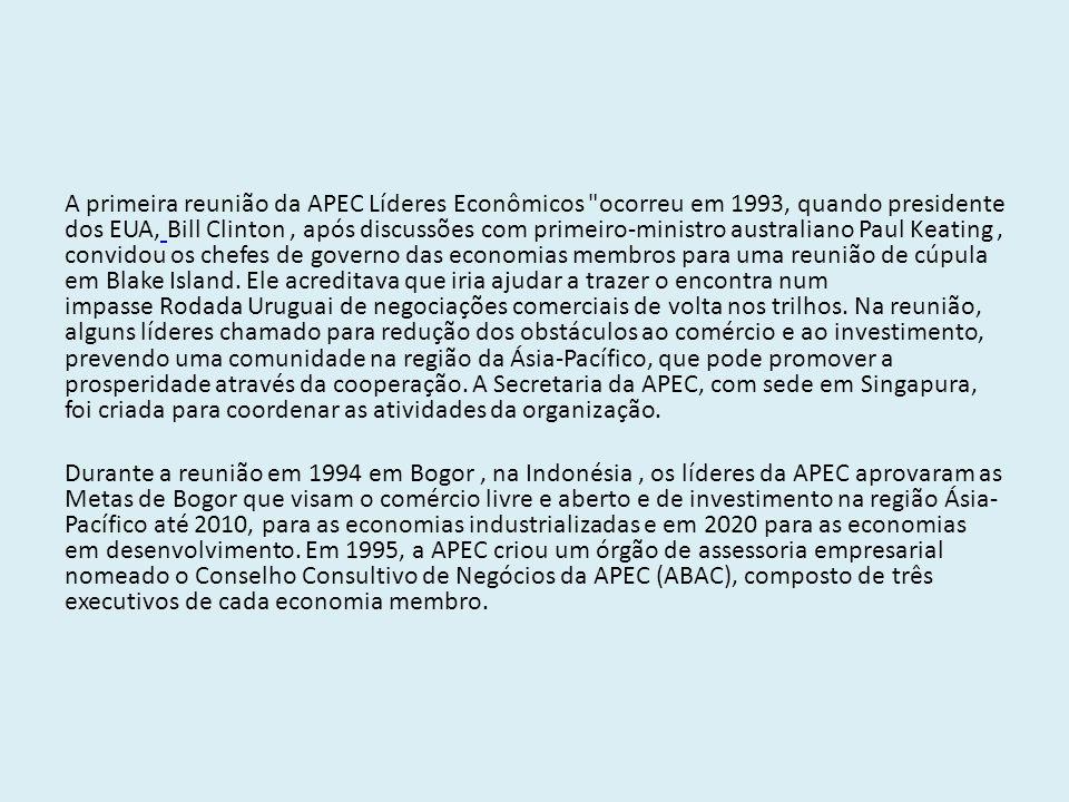 Principais objetivos da APEC -Estimular o comércio de produtos e serviços entres os países membros; - Redução das tarifas alfandegárias e taxas de importação e exportação nas relações comerciais entre os países membros;.