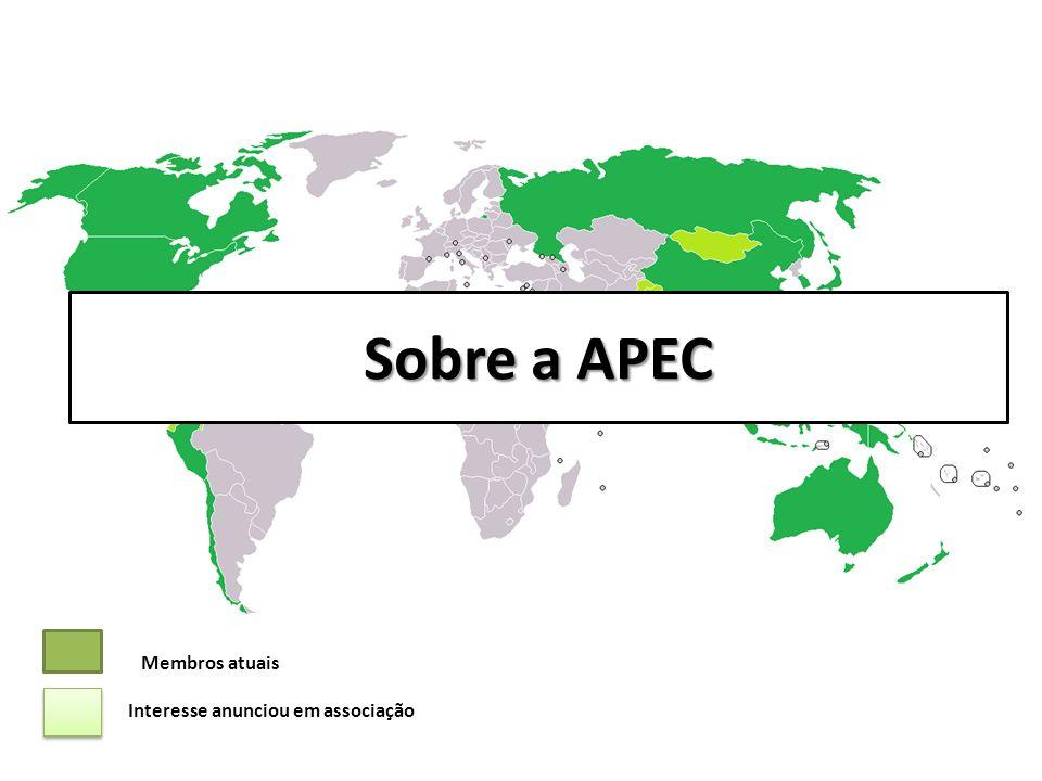 Sobre a APEC A Cooperação Econômica da Ásia e do Pacífico (Apec) foi fundada em 1989 na Austrália, cujo principal objetivo é a criação de uma área de livre comércio entre os países membros e Hong Kong.