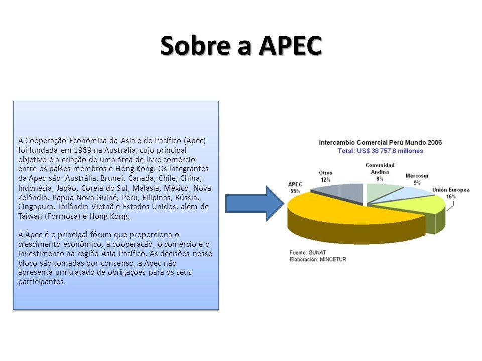 Sobre a APEC A Cooperação Econômica da Ásia e do Pacífico (Apec) foi fundada em 1989 na Austrália, cujo principal objetivo é a criação de uma área de