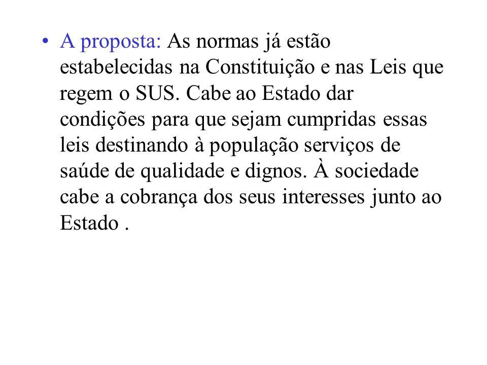A proposta: As normas já estão estabelecidas na Constituição e nas Leis que regem o SUS. Cabe ao Estado dar condições para que sejam cumpridas essas l