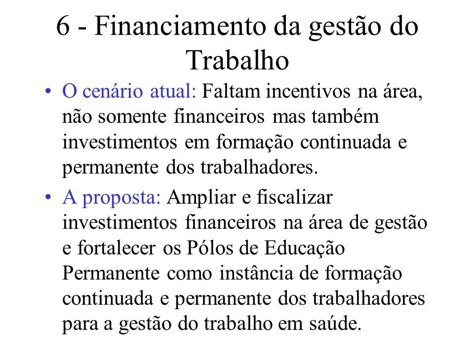 6 - Financiamento da gestão do Trabalho O cenário atual: Faltam incentivos na área, não somente financeiros mas também investimentos em formação conti
