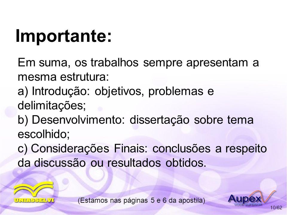 Importante: Em suma, os trabalhos sempre apresentam a mesma estrutura: a) Introdução: objetivos, problemas e delimitações; b) Desenvolvimento: dissert