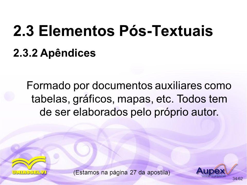 2.3 Elementos Pós-Textuais Formado por documentos auxiliares como tabelas, gráficos, mapas, etc. Todos tem de ser elaborados pelo próprio autor. (Esta