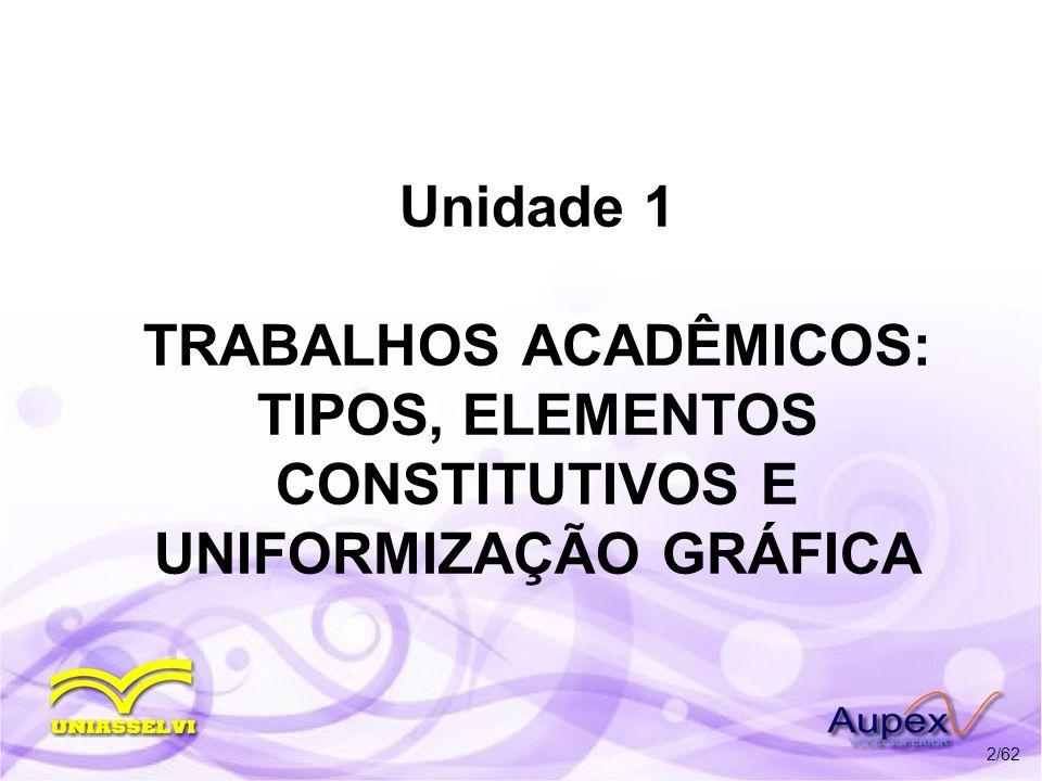 Unidade 1 TRABALHOS ACADÊMICOS: TIPOS, ELEMENTOS CONSTITUTIVOS E UNIFORMIZAÇÃO GRÁFICA 2/62