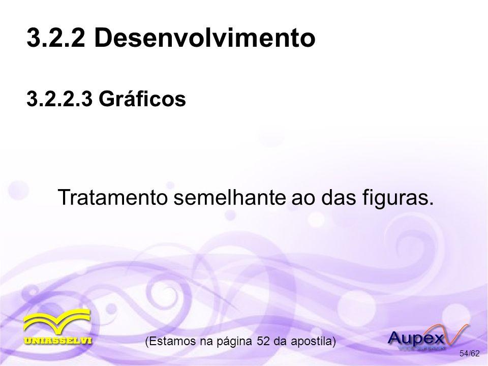 3.2.2 Desenvolvimento 3.2.2.3 Gráficos Tratamento semelhante ao das figuras. (Estamos na página 52 da apostila) 54/62