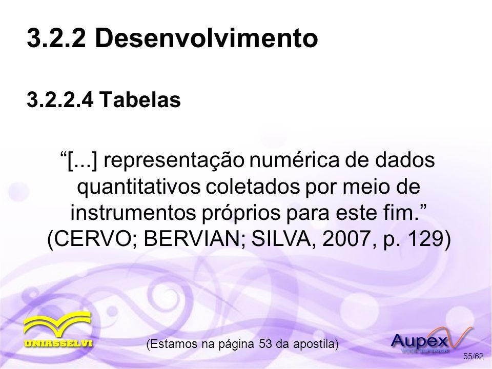 3.2.2 Desenvolvimento 3.2.2.4 Tabelas Orientações: - Possuir número independente e consecutivo; - O título deve ficar acima da tabela; - A fonte fica no rodapé da tabela; - Formatação semelhante a das figuras; (Estamos na página 53 da apostila) 56/62