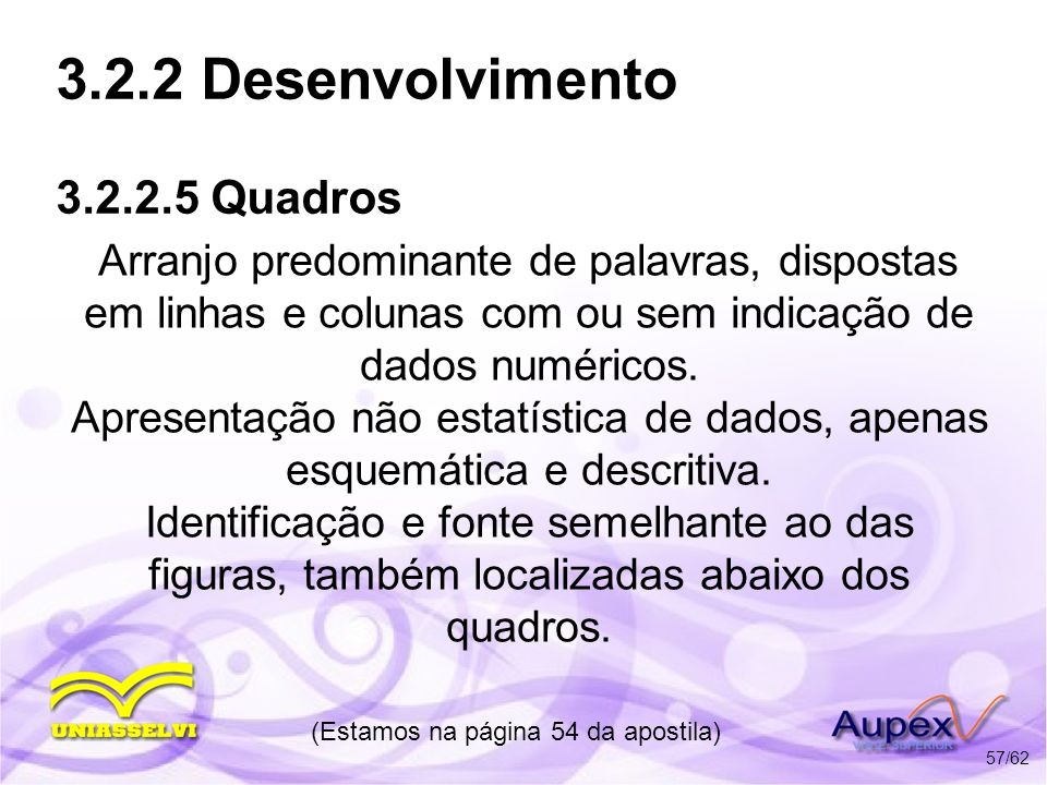 3.2.2 Desenvolvimento 3.2.2.5 Quadros Arranjo predominante de palavras, dispostas em linhas e colunas com ou sem indicação de dados numéricos. Apresen