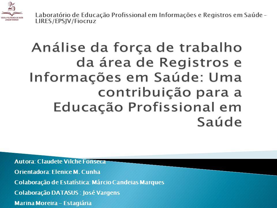 Laboratório de Educação Profissional em Informações e Registros em Saúde - LIRES/EPSJV/Fiocruz Autora: Claudete Vilche Fonseca Orientadora: Elenice M.