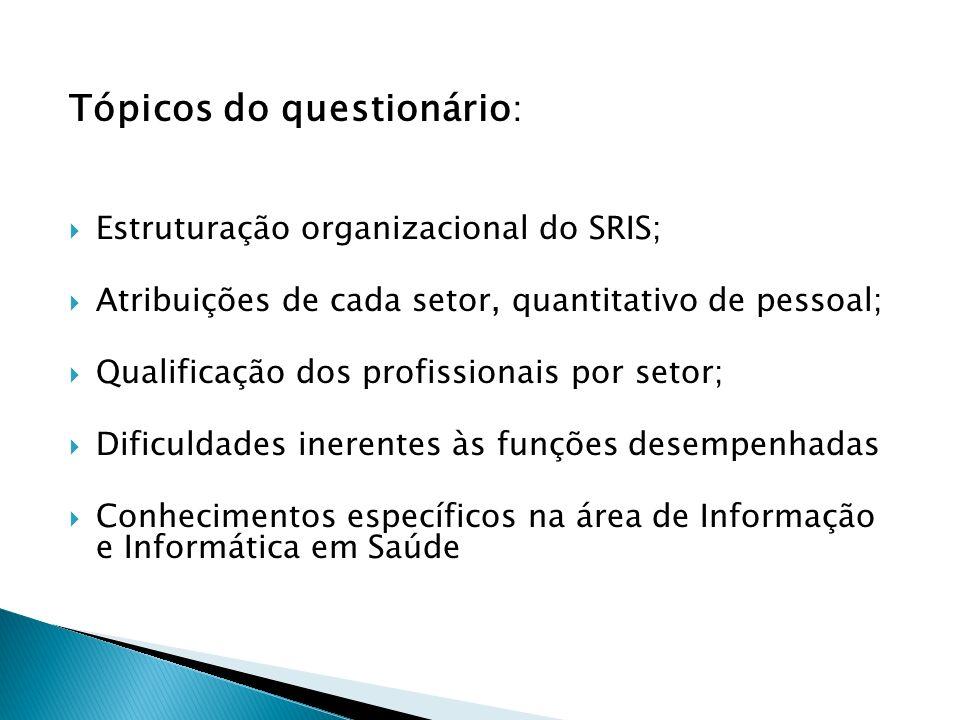 Tópicos do questionário : Estruturação organizacional do SRIS; Atribuições de cada setor, quantitativo de pessoal; Qualificação dos profissionais por