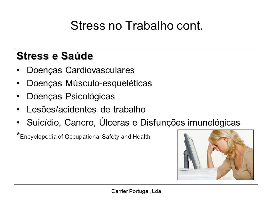 Carrier Portugal, Lda. Stress no Trabalho cont. Stress e Saúde Doenças Cardiovasculares Doenças Músculo-esqueléticas Doenças Psicológicas Lesões/acide