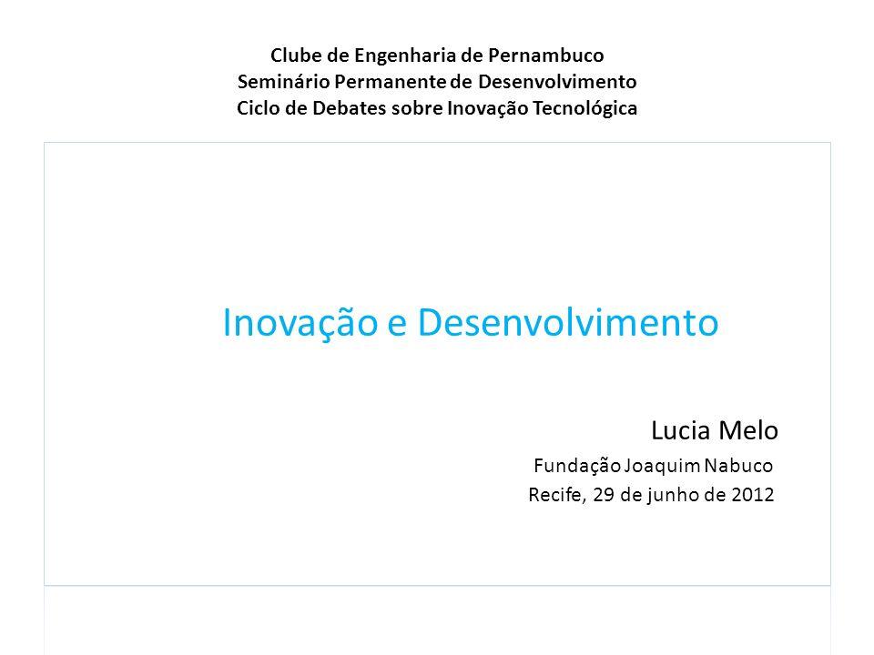 Clube de Engenharia de Pernambuco Seminário Permanente de Desenvolvimento Ciclo de Debates sobre Inovação Tecnológica