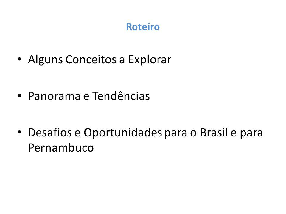Roteiro Alguns Conceitos a Explorar Panorama e Tendências Desafios e Oportunidades para o Brasil e para Pernambuco