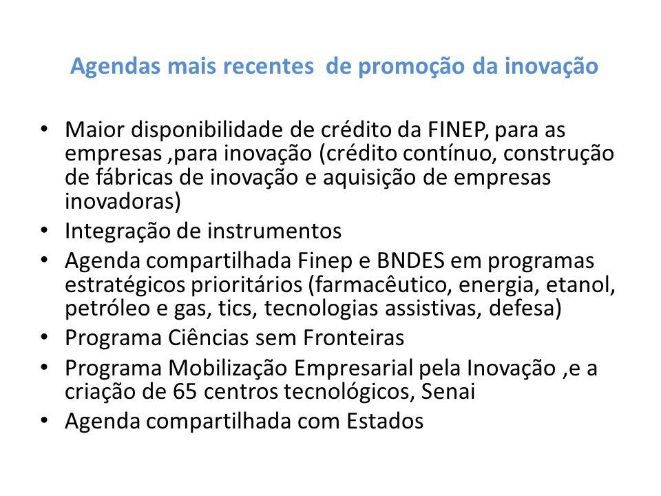 Agendas mais recentes de promoção da inovação Maior disponibilidade de crédito da FINEP, para as empresas,para inovação (crédito contínuo, construção