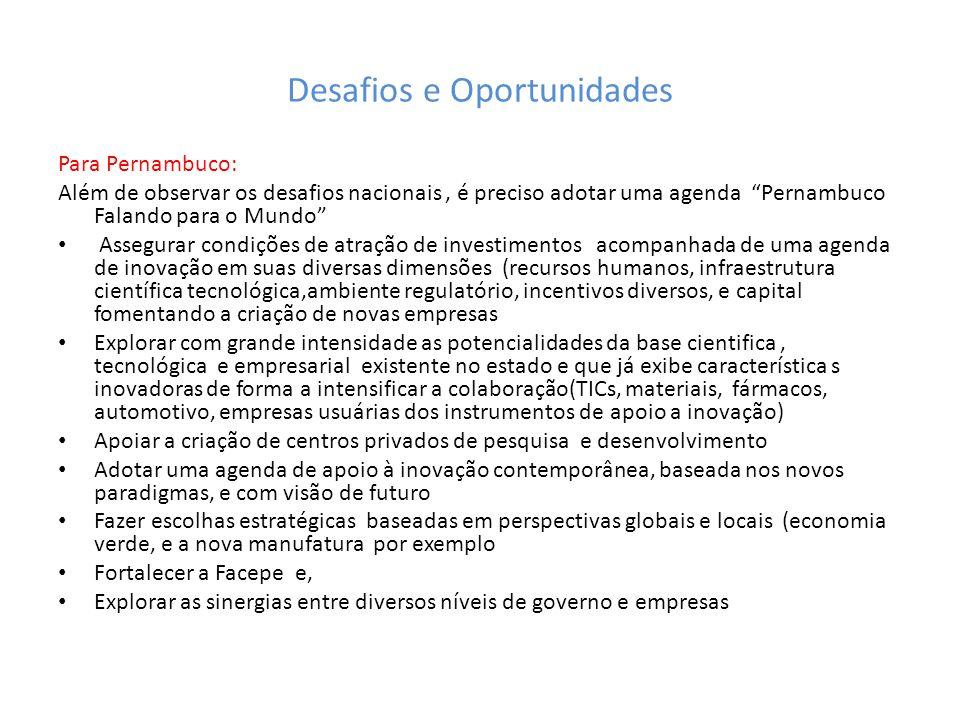 Desafios e Oportunidades Para Pernambuco: Além de observar os desafios nacionais, é preciso adotar uma agenda Pernambuco Falando para o Mundo Assegura