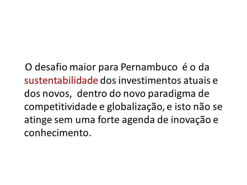 O desafio maior para Pernambuco é o da sustentabilidade dos investimentos atuais e dos novos, dentro do novo paradigma de competitividade e globalizaç