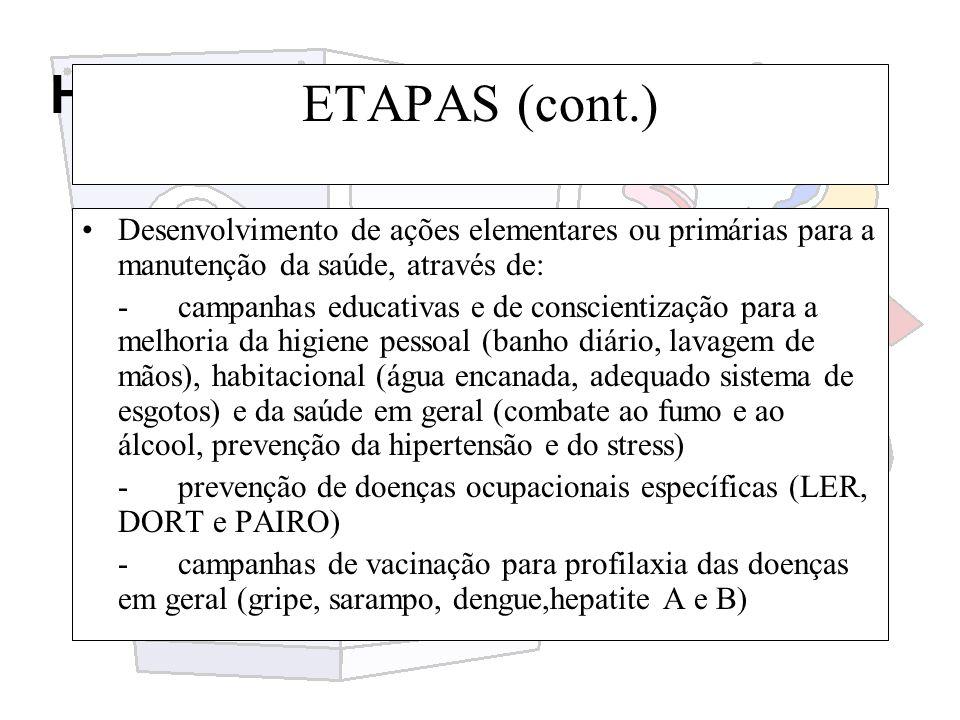 Higiene e segurança do trabalho ETAPAS (cont.) Desenvolvimento de ações elementares ou primárias para a manutenção da saúde, através de: -campanhas ed