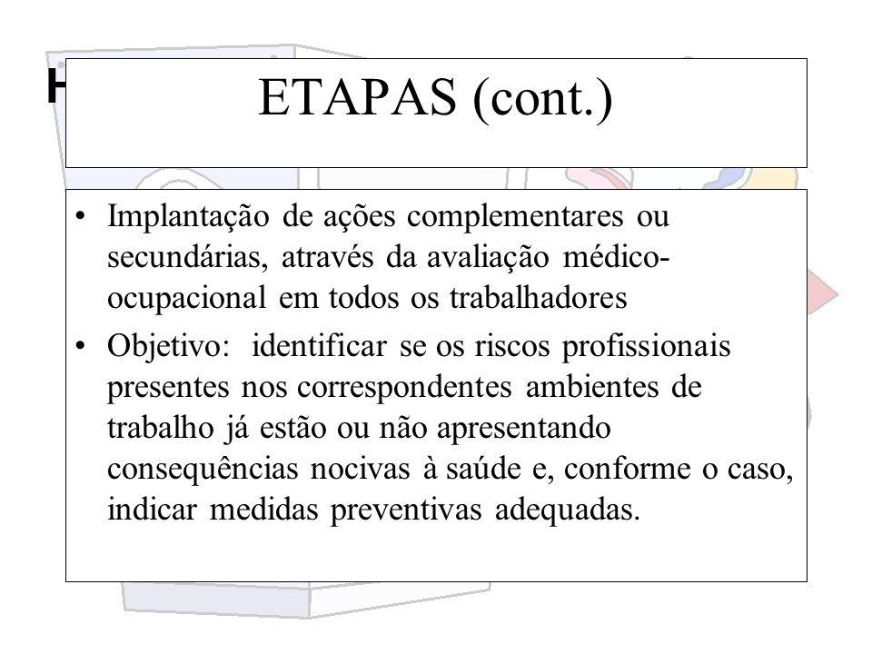 Higiene e segurança do trabalho ETAPAS (cont.) Implantação de ações complementares ou secundárias, através da avaliação médico- ocupacional em todos o